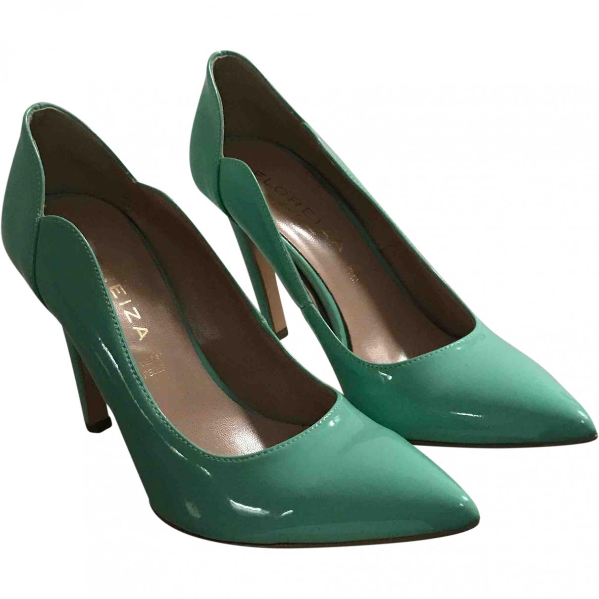 - Escarpins   pour femme en cuir verni - vert