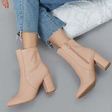 Botas tobilleras calcetines de tacones de bloque de punta de almendra