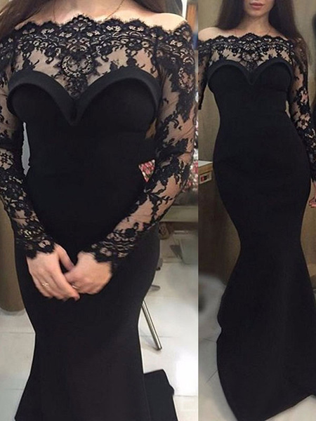Milanoo Black Loyal Wedding Dresses Lace Mermaid Long Sleeves Natural Waist Lace With Train Bridal Gown
