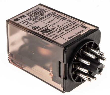 TE Connectivity , 230V ac Coil Non-Latching Relay 3PDT, 10A Switching Current Plug In, 3 Pole