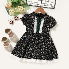Toddler Girls Ditsy Floral Contrast Schiffy Ruffle Dress
