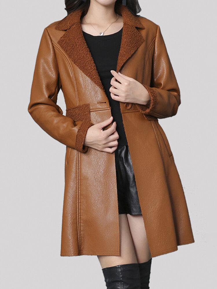 Solid Color Lapel Collar Faux-fur Jacket For Women