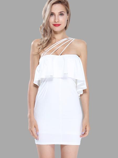 Yoins One Shoulder Lotus Leaf Edge Mini Dress