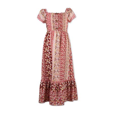 Speechless Big Girls Short Cap Sleeve Floral Maxi Dress, 16 , Pink