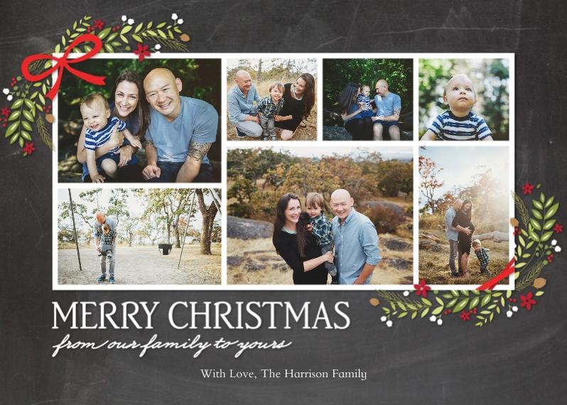 Christmas Photo Cards 5x7 Folded Cards, Premium Cardstock 120lb, Card & Stationery -Christmas Garland Corners 7 Photo