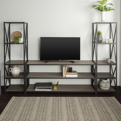 GBS60XM2AG 3-Piece Industrial Bookcase Set in