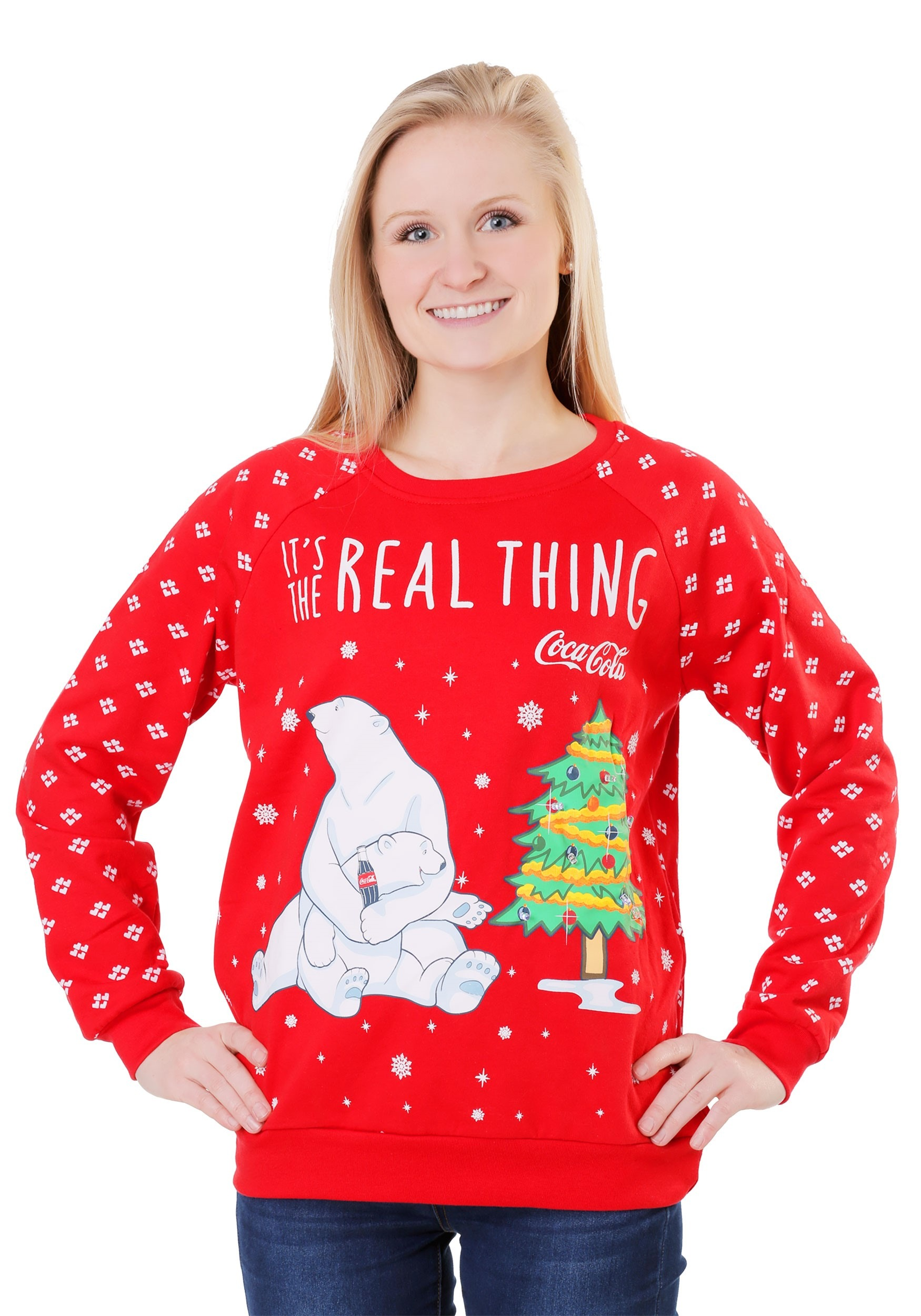 Coca Cola Polar Bear Womens Light Up Sweatshirt