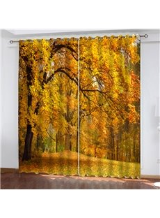3D Autumn Forest Painted Yellow Curtains Living Room Bedroom Blackout Window Drapes 2 Panel Set 80 Inches Wide and 84 Inches Long with Good Shading Ef
