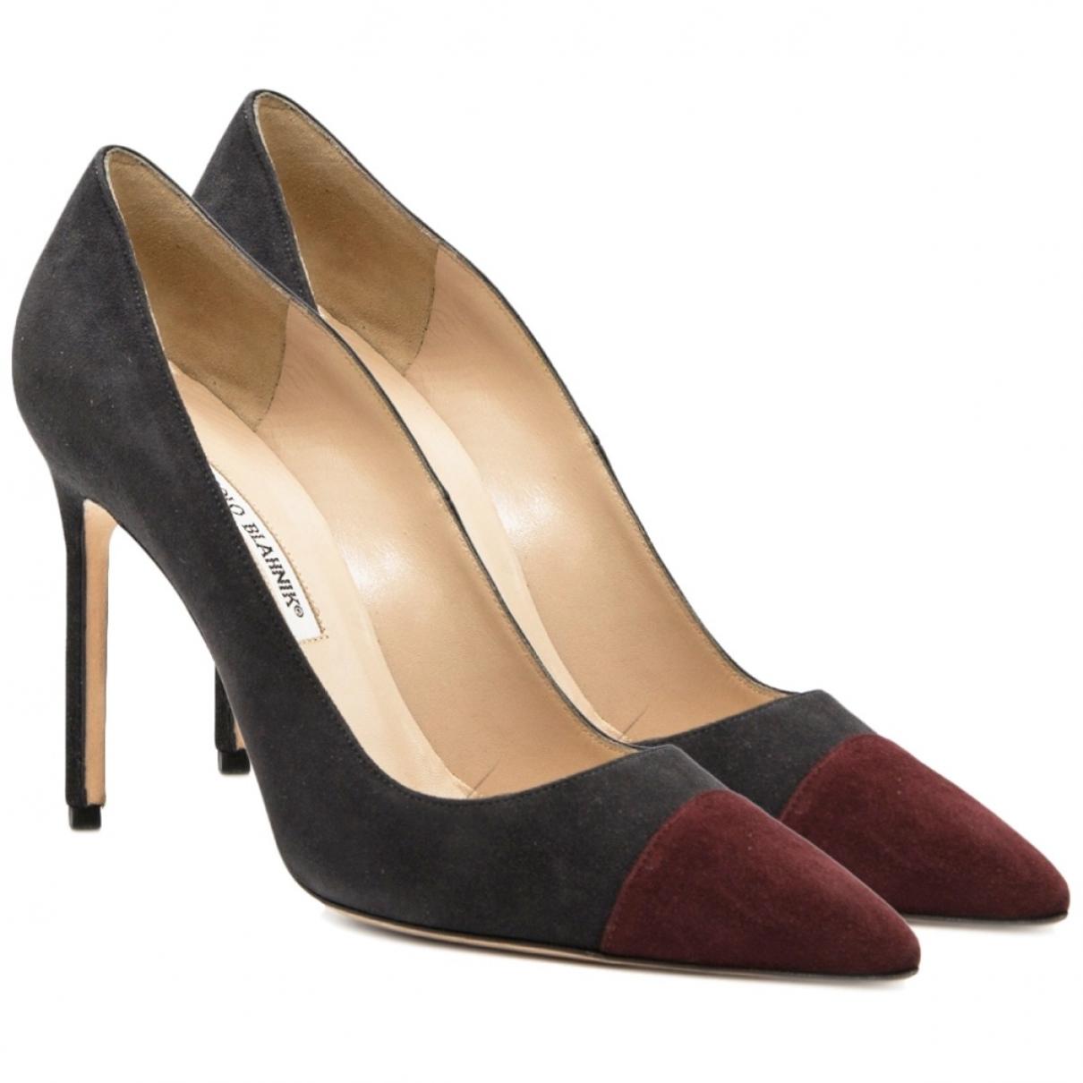 Manolo Blahnik \N Black Suede Heels for Women 39.5 EU