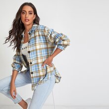 Drop Shoulder Curved Hem Plaid Coat
