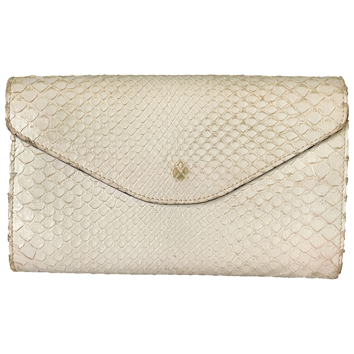 - Portefeuille   pour femme en python - ecru