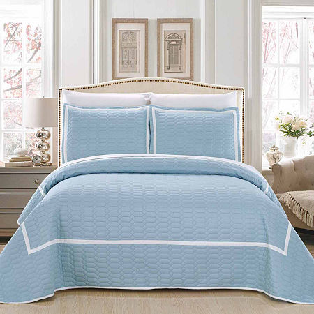 Chic Home Birmingham 7-pc. Embroidered Quilt Set, One Size , Blue