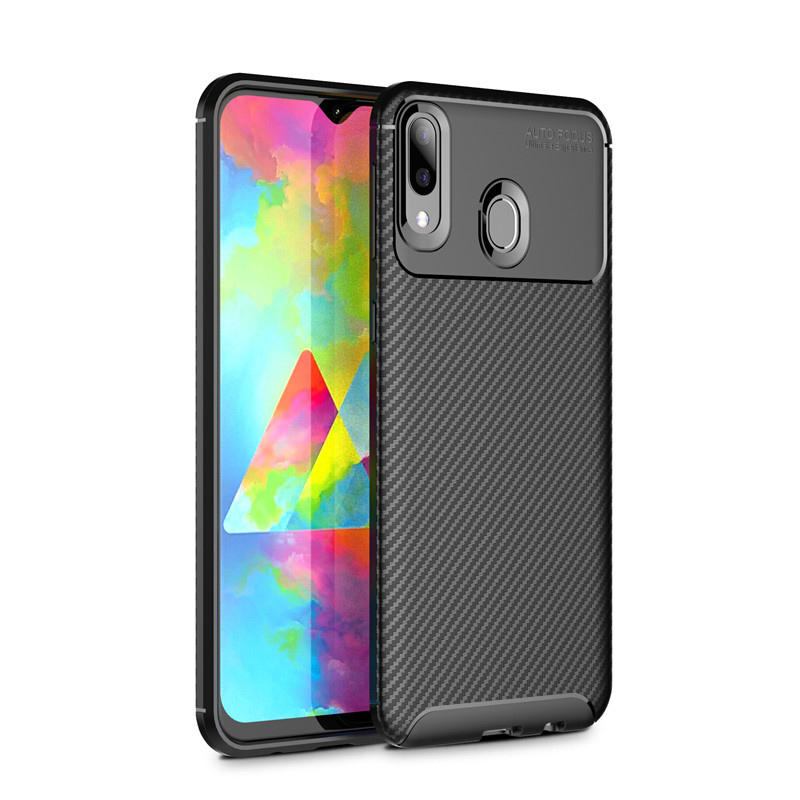 Bakeey Protective Case For Samsung Galaxy M20 2019 Carbon Fiber Fingerprint Resistant Soft TPU Back Cover