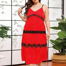 Plus Contrast Lace Polka Dot Cami Dress
