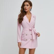 Double Button Belted Blazer Dress