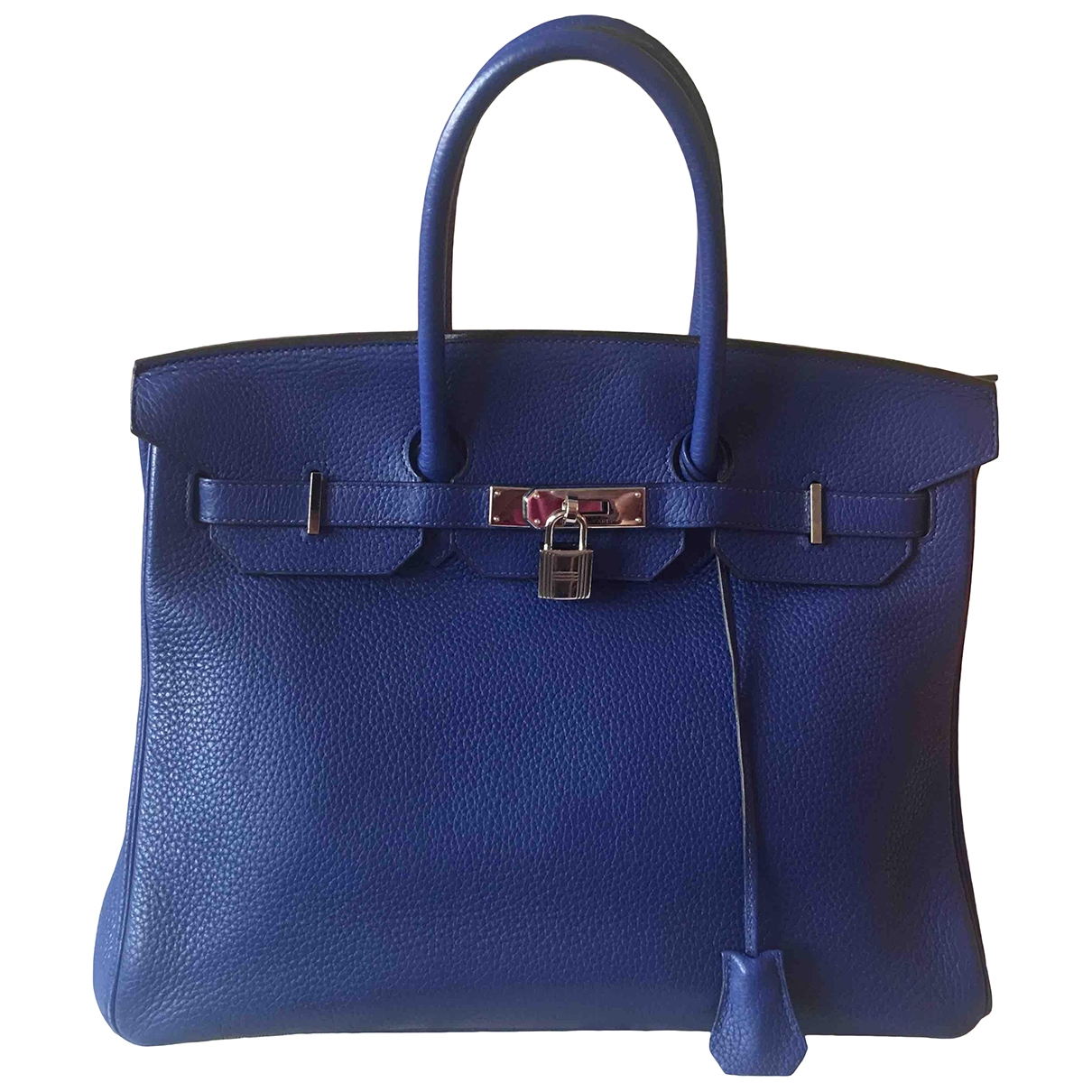 Hermes - Sac a main Birkin 35 pour femme en cuir - bleu