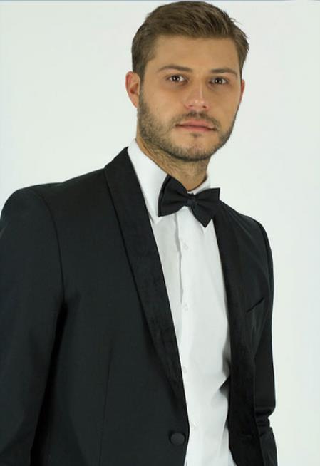 Men's Classic Fit Black Shawl Lapel Side Vents Jacket