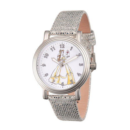 Disney Beauty and the Beast Womens Silver Tone Leather Strap Watch-Wds000238, One Size , No Color Family