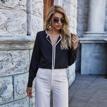 Bluse mit Kontrast Bindung und langen Ärmeln