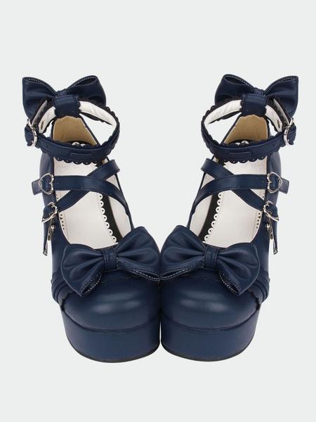 Milanoo Navy Blue Lolita Chunky Pony Heels Shoes Platform Ankle Straps Bows Heart Shape Buckles