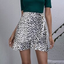 Dalmatian Print Ruffle Trim Asymmetrical PU Leather Skirt