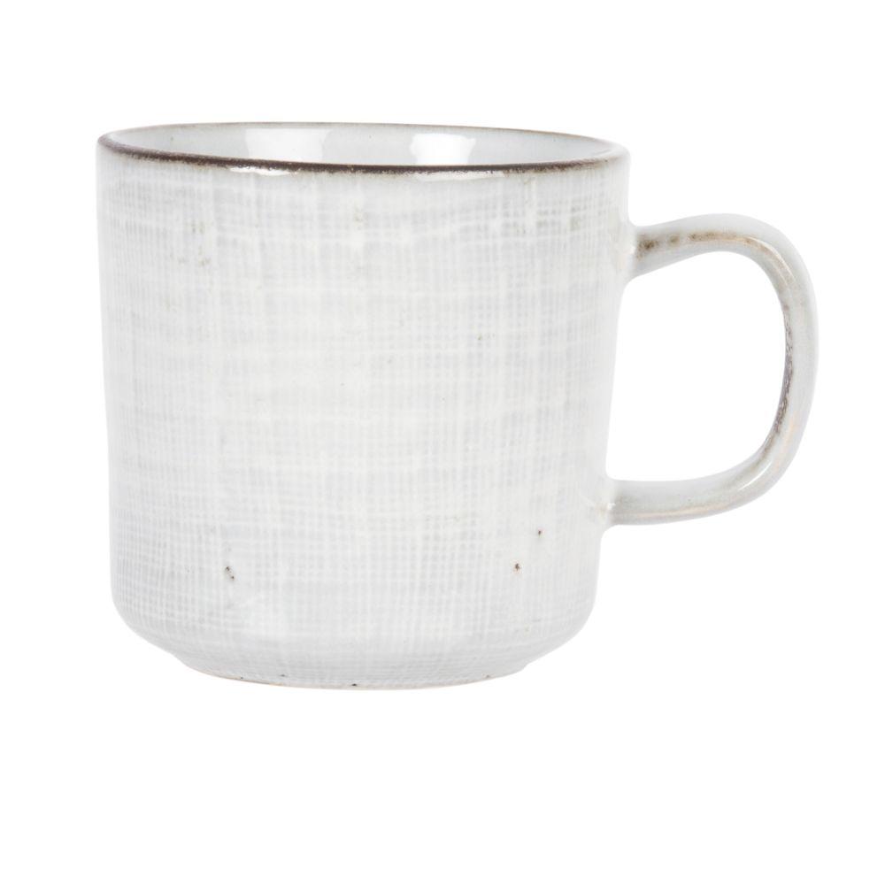 Kaffeebecher aus hellgrauer Fayence