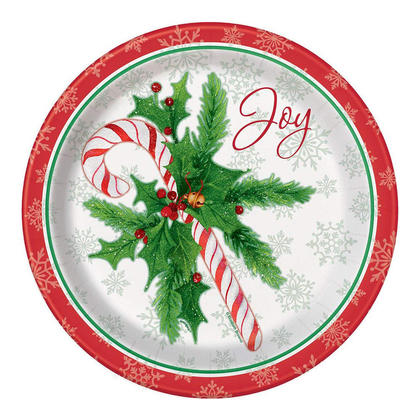 Candy Cane Christmas Paper Dinner Plates for Home Party Decor, 9 inch, 8ct