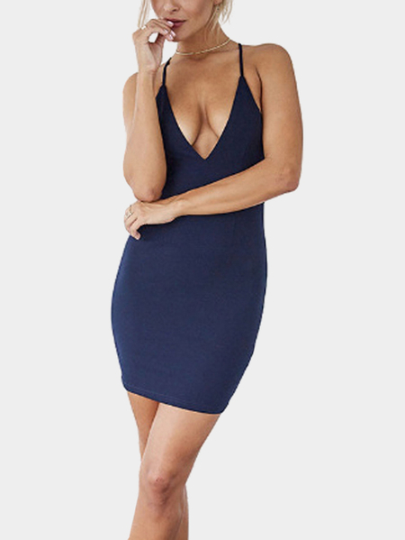 Yoins Navy Sexy Plunge V-neck Bodycon Cami Dress