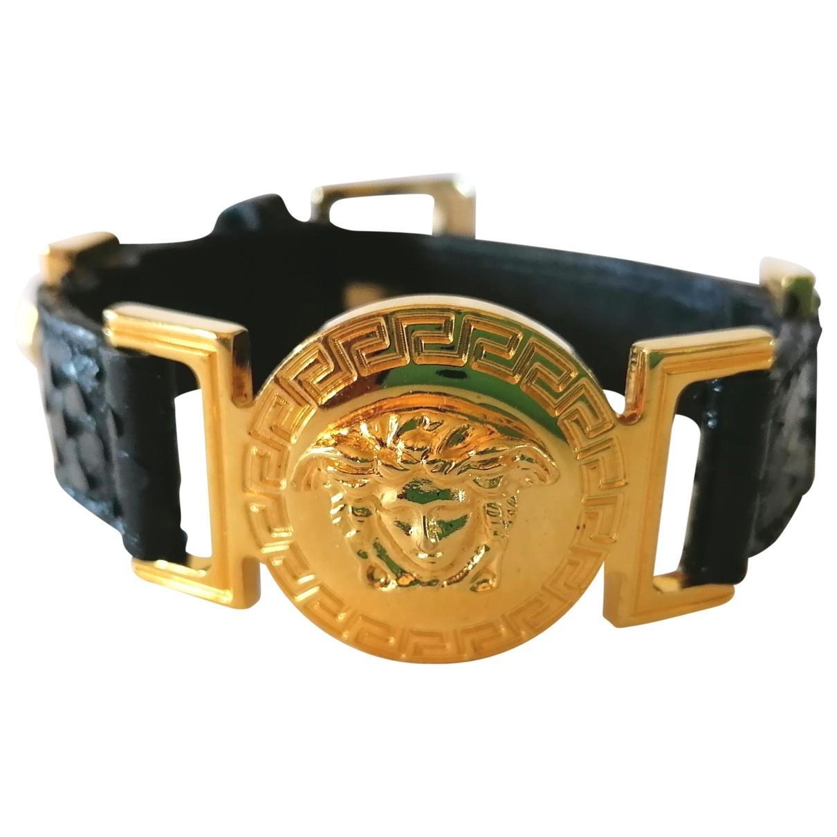 Versace - Bracelet Medusa pour femme en cuir - noir