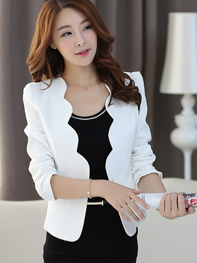 Ericdress Solid Color One Button Long Sleeve Blazer