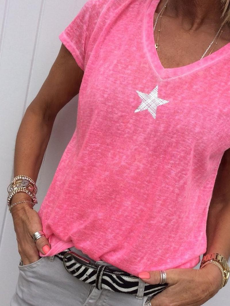 Ericdress V-Neck Short Sleeve Mid-Length Summer T-Shirt