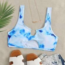 Top bikini de tie dye con abertura
