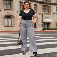 Plus Buttoned Front Houndstooth Pants