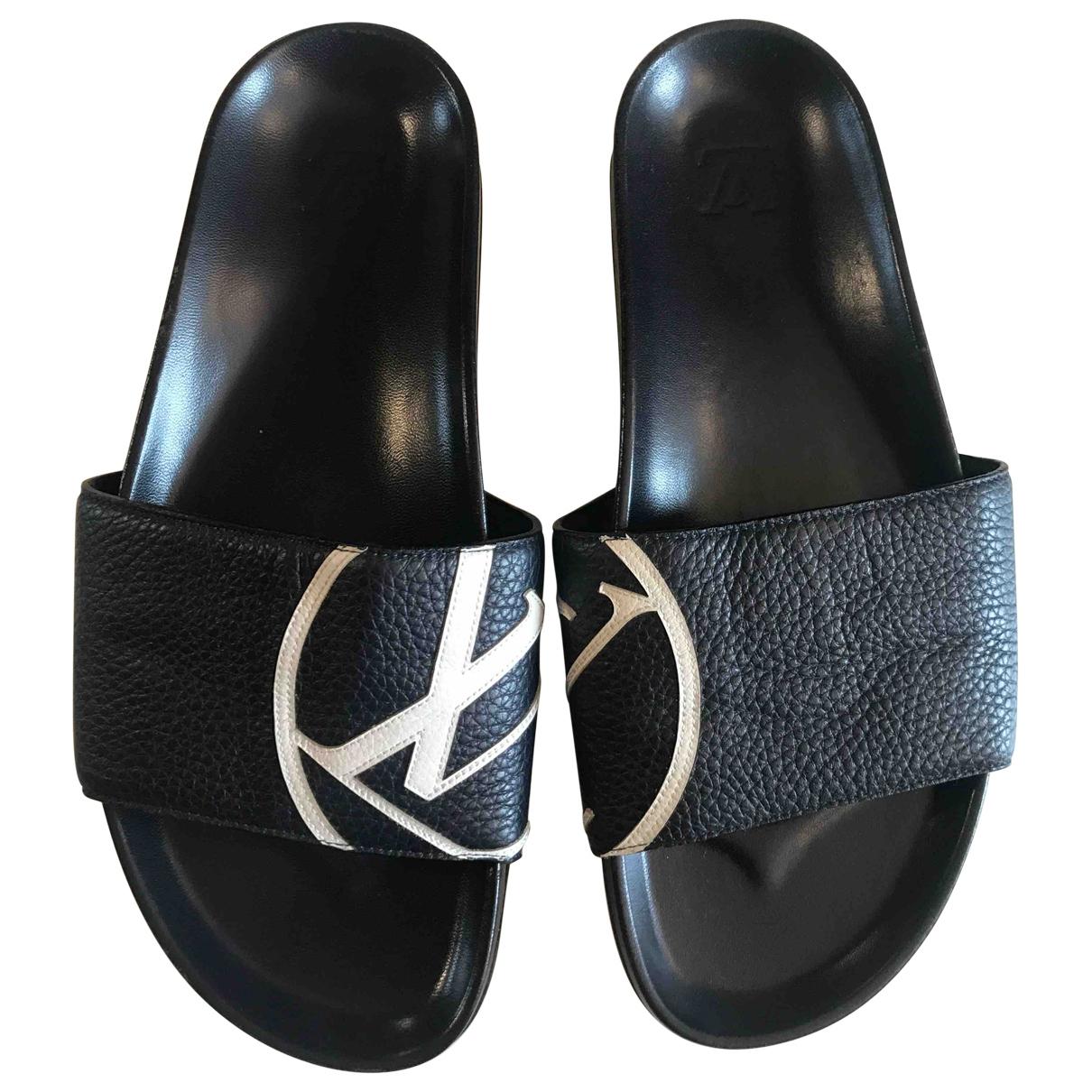 Louis Vuitton Waterfront Navy Leather Sandals for Men 43 EU