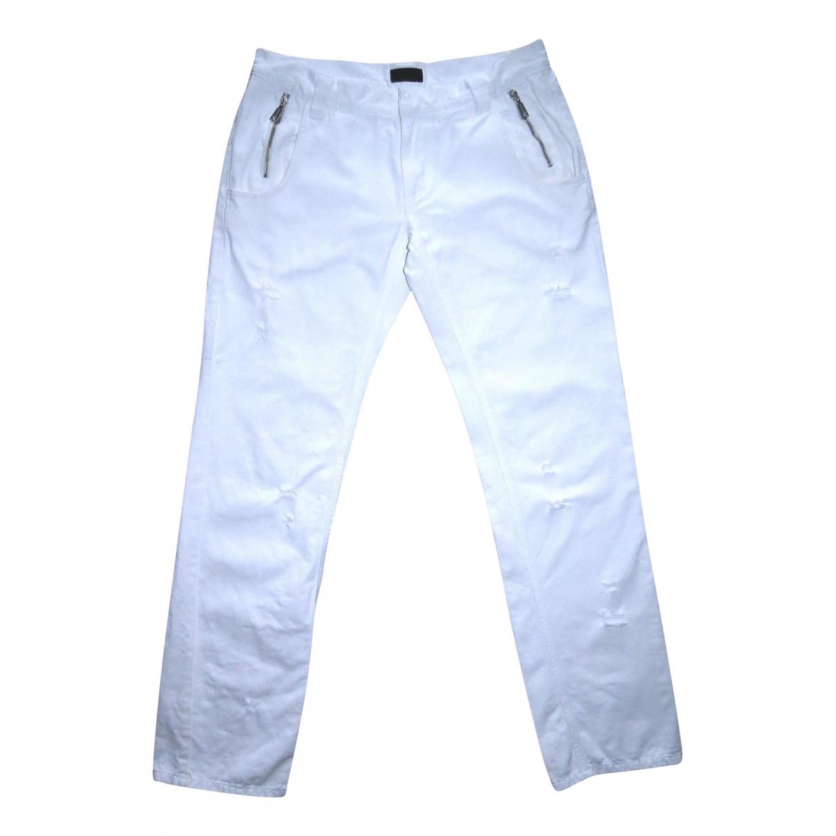 John Richmond \N White Cotton Trousers for Women 50-52 IT
