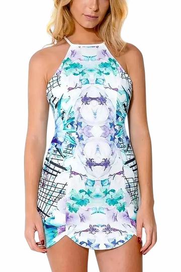 Yoins Floral Print Open Back Mini Dress