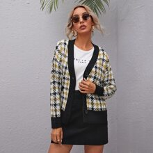 Button Front Drop Shoulder Plaid Cardigan
