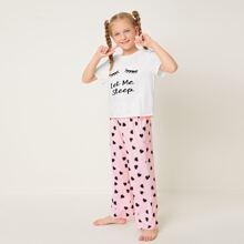 T-Shirt mit Buchstaben & Wimpern Muster und Hose mit Herzen Muster