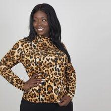 Camisetas de Tallas grandes Leopardo Casual