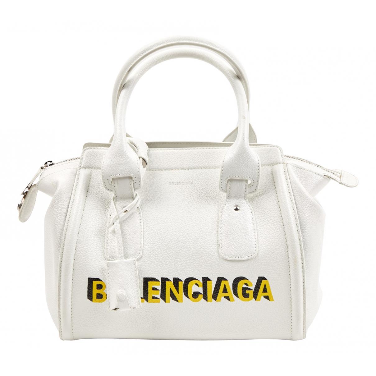 Balenciaga - Sac a main Monday Bowling pour femme en cuir - blanc