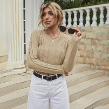 Solid Cable Knit Crop Sweater