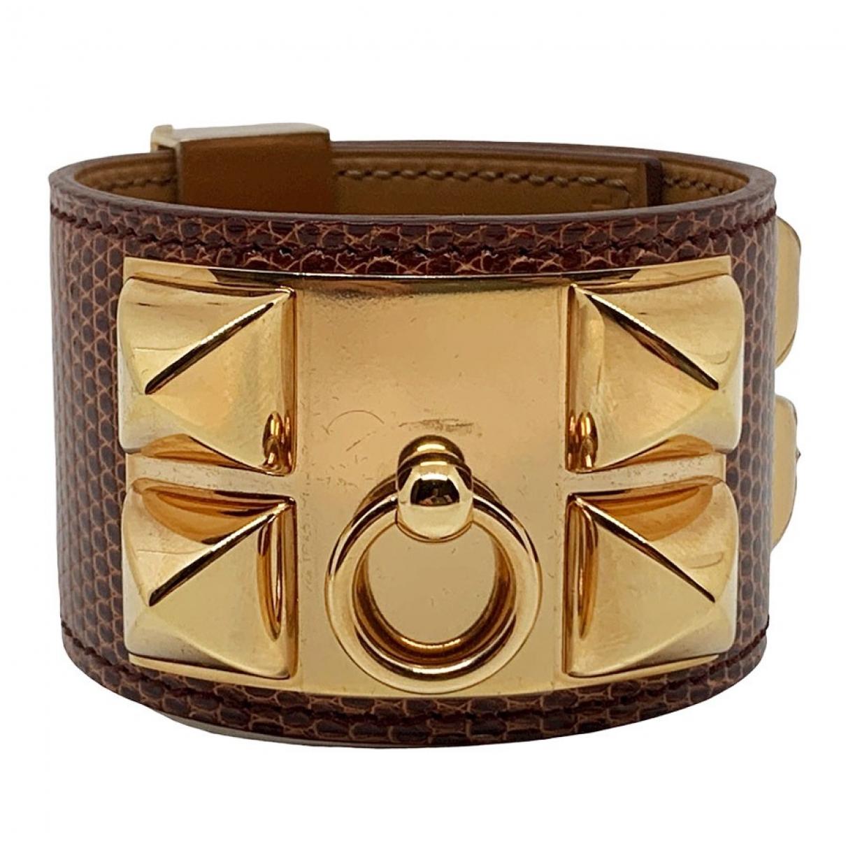 Hermes - Bracelet Collier de chien  pour femme en lezard - rouge