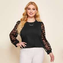 Plus Contrast Lace Sleeve Top