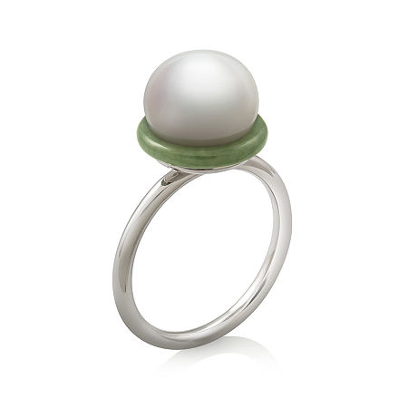 Cultured Freshwater Pearl and Dyed Green Jadeite Ring, 7 , No Color Family