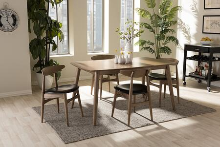 FLORA-FRENCH OAK 5PC DINING SET Baxton Studio Edna Mid-Century Modern French Black Faux Leather and