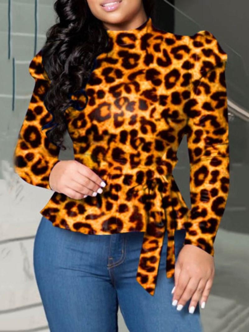 Ericdress Leopard Sexy Standard Long Sleeve Blouse
