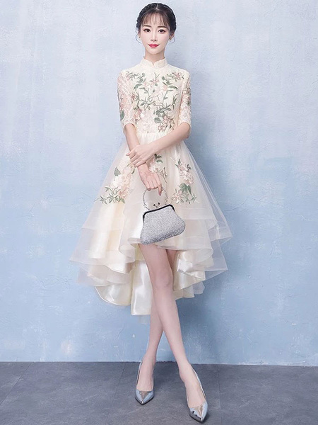 Milanoo Champagne Cocktail Dresses High Low Prom Dress Short Stand Collar Applique Graduation Party Dress