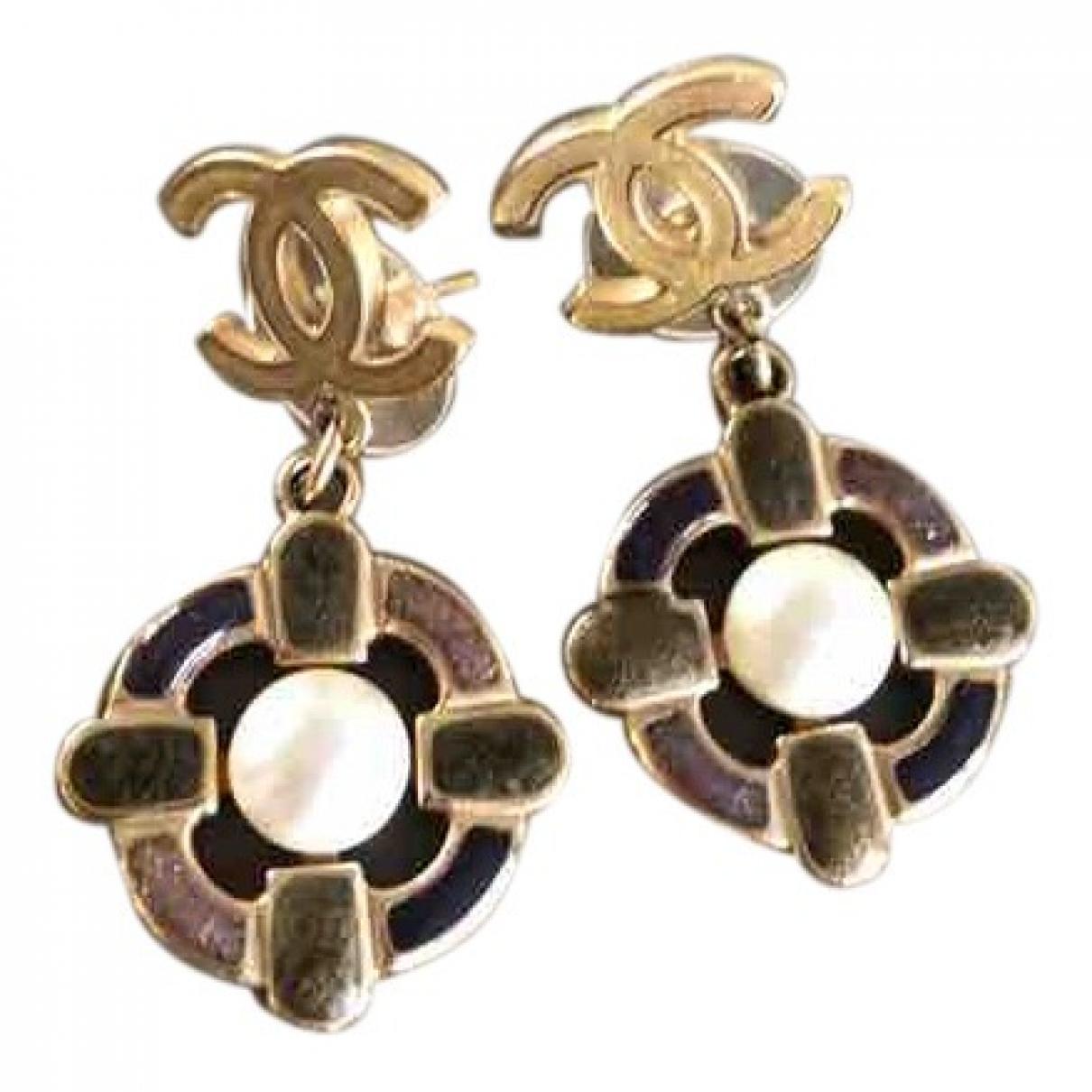 Chanel - Boucles doreilles CC pour femme en metal - multicolore