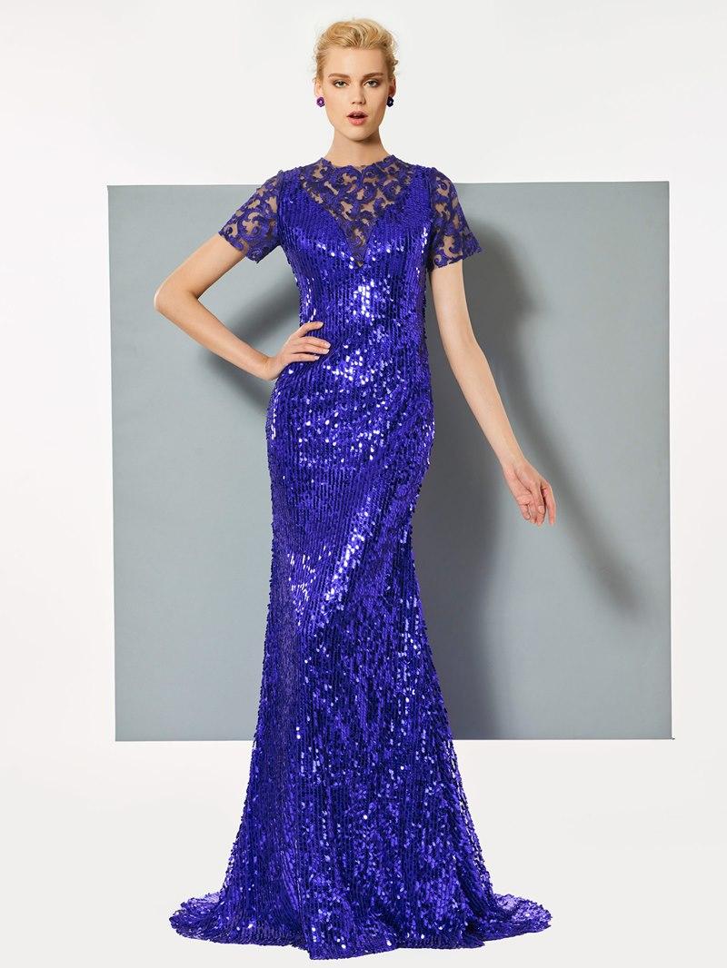 Ericdress Short Sleeve Sequin Mermaid Evening Dress With Sweep Train