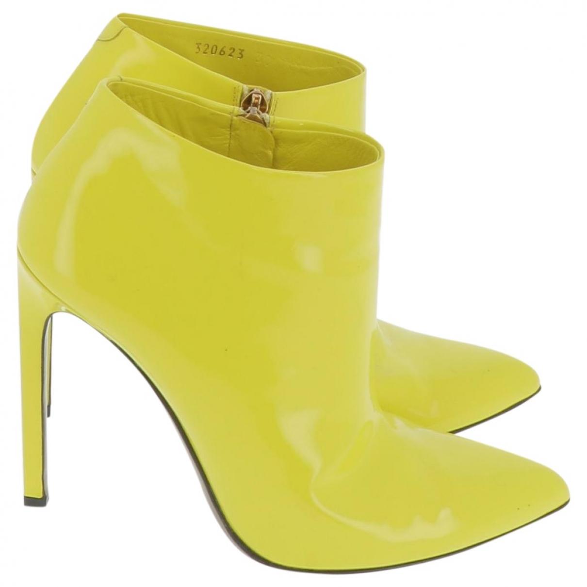 Gucci - Boots   pour femme en cuir verni - jaune